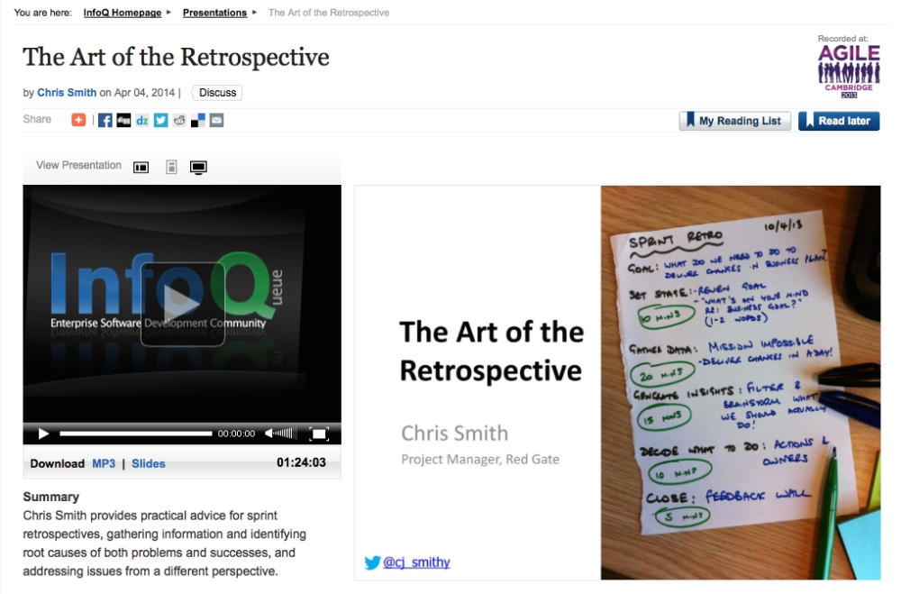 The Art of the Retrospective from Agile Cambridge 2013