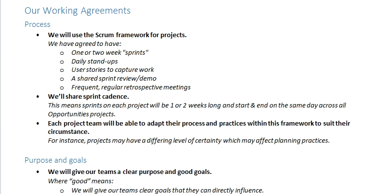 Our project management working agreements